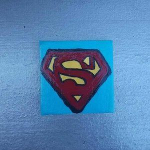 """Hand-Painted 2"""" x 2"""" Superman Magnet"""